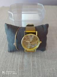 Relógio feminino + pulseira