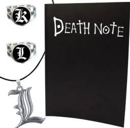 Título do anúncio: Kit Death Note L Kira Ryuk Caderno +  Anel + Colar