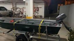 Título do anúncio: Barco Fibra 4m + Motor Popa Hidea 4Hp