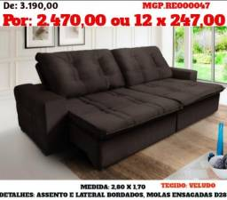 Sofa Retratil e Reclinavel 2,80 em Veludo E Molas- Grande- Sofa Lindissimo- Campo Grande