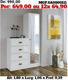 Armario Multiuso com Espelho com Comoda de 4 Gavetas-Casal-Dormitorio- Liquida MS