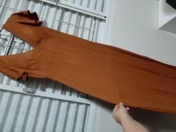 Vestido longo caramelo