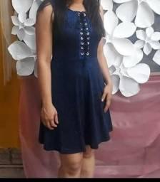 Vestido Azul Brilho Malha