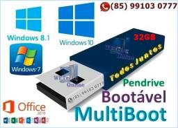 Pendrive Boot 32GB todos os Windows, Office 2019, AdobeCC 2019, Corel2019, Antivírus, Apps