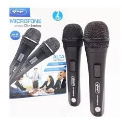 Microfone Duplo Dinâmico Com Fio 2 Microfones Alta Definição - 7992
