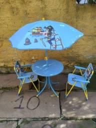 Conjunto Infantil de Mesa, Cadeiras e Guarda-Sol Mor