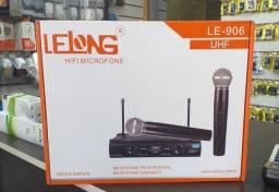 Microfone Sem Fio Duplo Lelong Digital Le906 Uhf Profissional