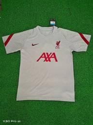 Camisa Liverpool Training Cinza Claro 20/21