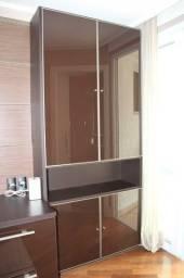 Armário multiuso 4 Portas em Madeira Maciça Marrom espelhado 230 cm x 106 cm x 38 cm