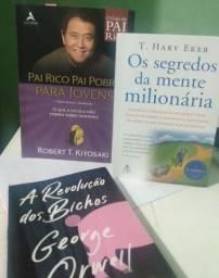 Título do anúncio: Livros- pai rico pai pobre, a revolução dos bichos,os segredos da mente milionária.