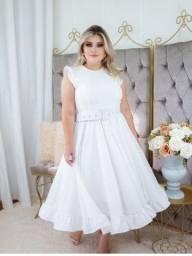 Vestido Branco Plus Size Para Casamento Civil Midi