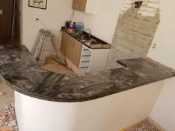 Pedra de mármore para balcão curvo