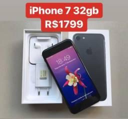 IPhone 7 32gb Preto Fosco Completo - Aceito Cartão