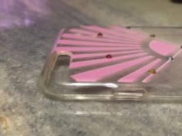 Capa Transparente com desenhos rosa para iPhone 6 ou 6S