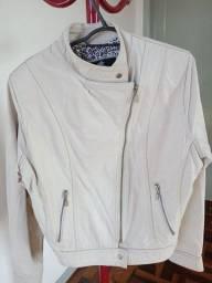 Jaqueta de couro legítimo feminino