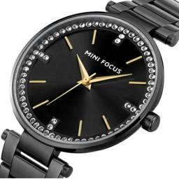 1ea44184fb4 Relógio Luxuoso Feminino Mini Focus Preto à Prova D água 100% Novo e  Original