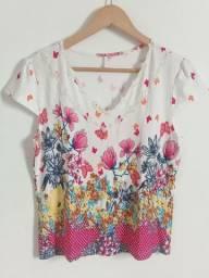 Blusinha feminina manga curta estampa floral
