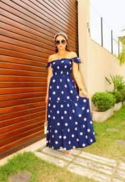 vestido Longo poá Azul Marinho