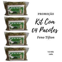 Título do anúncio: Feno Para Coelhos, Roedores, Kit Com 4 Pacotes 500 Gramas 12 9  *