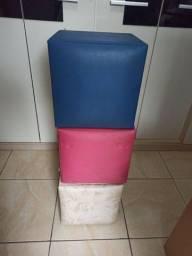 Jogo de puff quadrado (3 unidades)