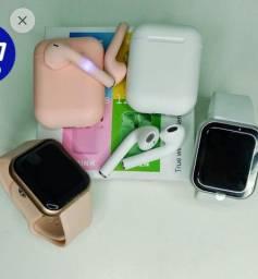 Título do anúncio: Kit relógio inteligente e fone de ouvido sem fio l12 (faço entrega)
