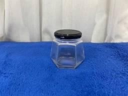 Título do anúncio: Pote de vidro sextavado 230ml (preço do valor total de 12 unidades, mas vendo separadament