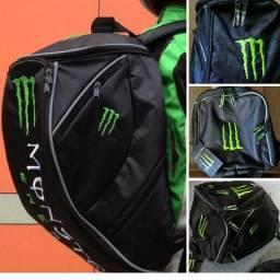 Mochila Monster Energy + capa impermeável - Porta capacete - Motociclista / verde kawasaki