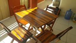 03 conjunto de mesa de madeira