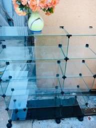 Balcão de Vidro com Rodinha