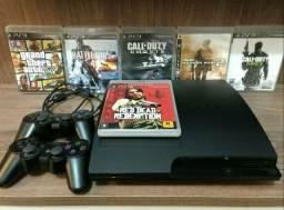 PS3 500 Gigas C/2 controles originais + 9 jogos