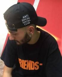Boné Anti Social Social Club Branco/Preto Unissex - Pronta Entrega