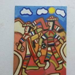 Pinturas em telas e painéis paredes madeiras e cerâmica.