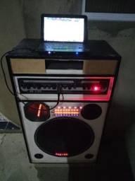 Vendo caixa de som amplificada 1150wats e um netbook