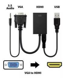 Conversor de VGA para HDMi Passivo com Áudio Adaptador Vga x Hdmi - Loja Natan Abreu