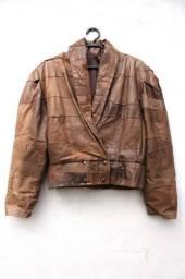 Jaqueta de couro legítimo oversized feminino marrom tam M/G