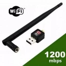 Título do anúncio: Antena Wifi Usb 1200 Mbps Wireless N Pc Notebook Computador Conversor Digital Produto Novo