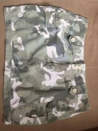 V/T saia jeans estampa camuflagem