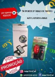 Combo suporte p/celular + lanterna bike