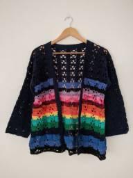 Casaco crochê crochet colorido marinho arco íris casaquinho blusa kimono cardigã cardigan