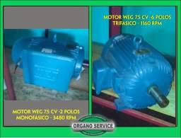 Título do anúncio: 2 Motores Weg  - 7,5 cv : 1  Mono - 2polos e 1 Trifás. 6 polos- (vendo separado tambem)