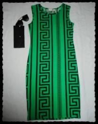 Vestido novo verde com preto