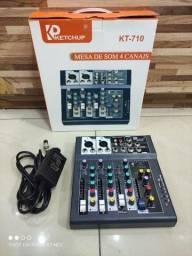 Título do anúncio: Mesa De Som 4 Canais Bluetooth Mixer Mp3 Player Digital Usb