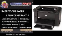 Impressora HP LaserJet rede e frente verso Pro P1606dn