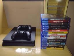 Título do anúncio: PS4 Slim, com 2 controles + 16 Jogos