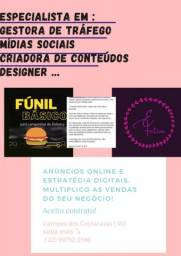 Título do anúncio: Gestora de tráfego , mídias sociais , conteúdos , designer