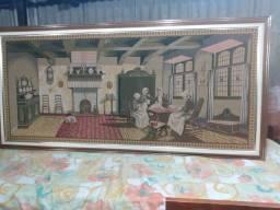 Título do anúncio: Quadro tapeçaria estilo gabelin rico em detalhes