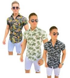 kit 2 camisa masculina florida social manga curta estampada