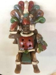 Escultura flauta rei cuauhtemoc de 14cm mexicana