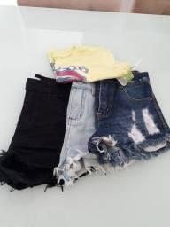 Título do anúncio: Kit  12 anos  (3 shorts e uma blusa)