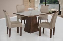 Título do anúncio: Mesa de Jantar 4 cadeiras 100 % MDF com tampo de vidro lackeado em Promoção !